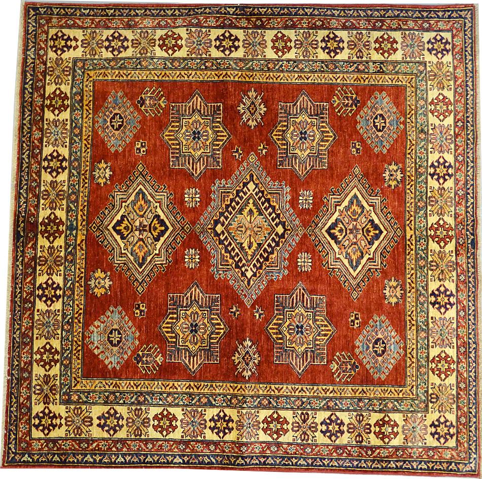 tapis oriental tapis kazak extra fin 185 x 185 cm laine 3382. Black Bedroom Furniture Sets. Home Design Ideas