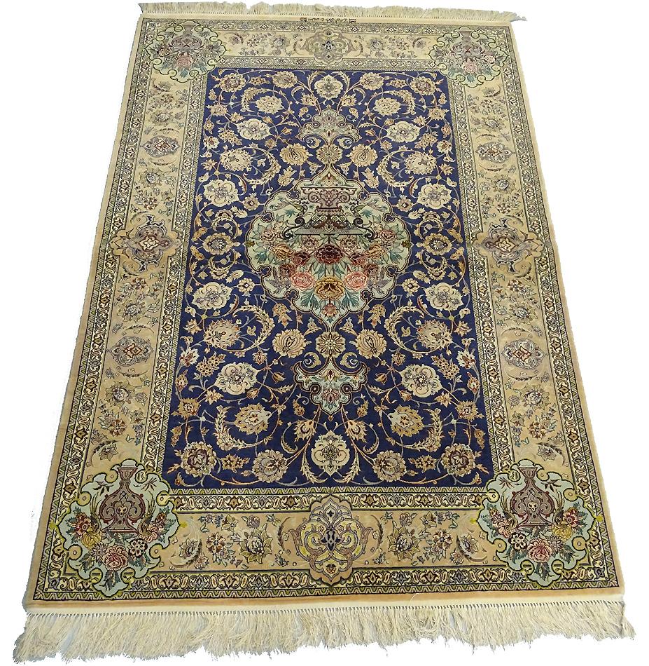 Tapis ispahan 210 x 144 cm laine et soie 9476 www - Tapis 200x140 ...