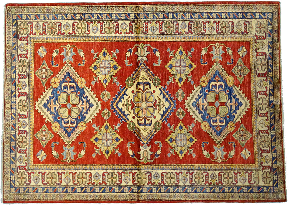 tapis oriental tapis kazak extra fin 209 x 152 cm laine 3864. Black Bedroom Furniture Sets. Home Design Ideas